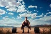 Male weightlifter prepares to take weight poster
