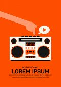 Music Poster Design Template Background Modern Vintage Retro Style. Can Be Used For Backdrop, Banner poster