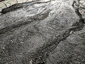The Surface Around The Mud Volcano, Cracked Frozen Mud. Background Image poster