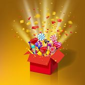 Christmas Sweet Gift Box. Open 3d-red Box With Yum, Candy, Jelly, Sweets. Blast Of Paper Confetti. F poster