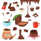 Chocolate Vector Cartoon Cocoa Choco Sweet Food From Cocoa-beans Cake Confection Illustration Set Of poster
