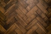 Renovated Brown Oak Parquet, Reconstruction Old House Symbol, Wooden Oak Parquet Floor Background poster