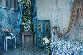 Bedroom Interior In Vintage Style Bedroom In Vintage Style In Blue Tones poster
