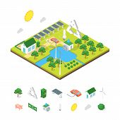 Ecology Green Energy Consumption And Elements Concept 3d Isometric View. Vector poster