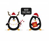 Christmas. Cute Penguins With Christmas Gifts. Happy Animals. Vector Illustration poster