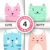 Cute, Funny Kitty, Cat Characters. Hand Draw poster