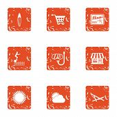 Sightseeing Tour Icons Set. Grunge Set Of 9 Sightseeing Tour Icons For Web Isolated On White Backgro poster