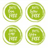 Set Of Round Green Labels With Text - Lactose Free, Sugar Free, Gluten Free, Gmo Free. poster