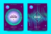 Wave Music Poster With Amplitude Of Sound. Futuristic Flyer Concept For Electronic Event Promotion.  poster