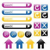 Colorful, glossy web buttons in purple, blue, yellow and black; perfect for any web project