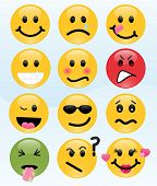 stock photo of angry smiley  - Twelve smileys - JPG