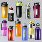 Sport Bottle Vector Sportive Water Bottled Drink Thermo And Fitness Plastic Energy Beverage Illustra poster