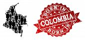 People Crowd Composition Of Black Population Map Of Colombia And Scratched Seal Stamp. Vector Red Wa poster