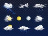Set Of Weather Forecast App Realistic Vector Icons With Various Clouds, Sun And Moon Disks Illustrat poster
