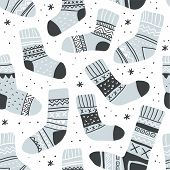Winter Vector Seamless Pattern With Cute Socks And Snowflakes On White. Funny Doodle Socks With Diff poster