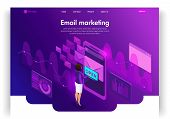 Website Template Design. Isometric Concept Email E-mail Marketing. Marketing Research. Email Inbox E poster