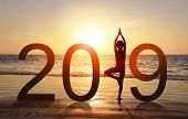 Happy New Year Card 2019. Silhouette Of Healthy Girl Doing Yoga Vrikshasana Tree Pose On Tropical Be poster