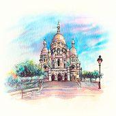 Watercolor Sketch Of Basilica Of The Sacred Heart Of Paris Or Sacre-coeur In Quarter Montmartre, Par poster