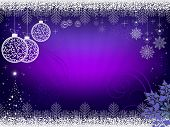 Christmas Design In Purple With Rays Of Light, Balls In Retro Style And Shiny Christmas Tree. poster