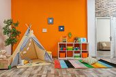 Cozy Kids Room Interior With Play Tent And Toys poster