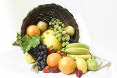 picture of horn plenty  - horn of plenty filled with fruit - JPG