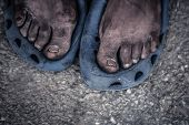pic of priceless  - The feet of a old man living on the street - JPG