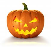 image of jack o lanterns  - Scary Jack O Lantern halloween pumpkin with candle light inside 3d render - JPG