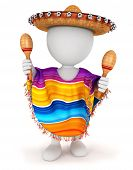 picture of maracas  - 3d white people mexican with a sombrero - JPG