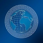 stock photo of marketing strategy  - world globe with digitals of one and zero arrange in circles over blue background - JPG