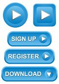 image of arrowhead  - Set of blue play sign up register and download buttons - JPG