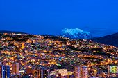 Panorama Of Night La Paz, Bolivia