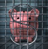 image of white collar crime  - Financial crime and securities fraud business concept with a piggy bank character in a prison jail cell with a dollar sign symbol in the metal cage bars as an icon of justice for criminal finance activity - JPG