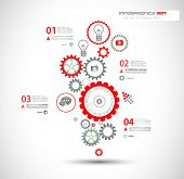 stock photo of chains  - Infographic design template with gear chain - JPG