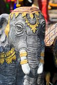 picture of mahabharata  - Wooden elephant at the temple in Thailsnd - JPG