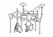stock photo of drum-kit  - Illustration of a drum kit on white background - JPG