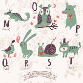 image of letter n  - Cute zoo alphabet in vector - JPG