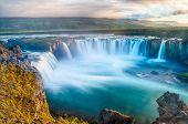 stock photo of midnight  - Godafoss is a very beautiful Icelandic waterfall - JPG