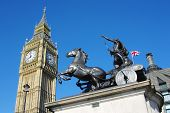 stock photo of great horse  - Big Ben and prancing horse of Boudica sculpture group in City of Westminster - JPG