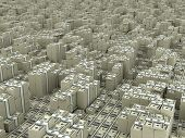 stock photo of million-dollar  - Many paks of dollars in stacks on ground - JPG