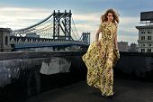 stock photo of evening gown  - Fashion model posing sexy wearing long evening dress on rooftop location with metal bridge construction on background - JPG