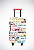 stock photo of universal sign  - The Universal Travel Bag Concept Illustration using the most used travel terminologies in the shape of a travel bag or travel trolley - JPG
