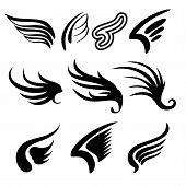 stock photo of spread wings  - Wings  sketch collection  cartoon vector  illustration - JPG