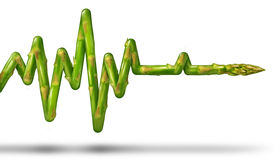 picture of ekg  - Healthy living concept with an asparagus vegetable in the shape of an ECG or EKG life line as a medical symbol of eating good food and exercising the body for human health and fitness on a white background - JPG