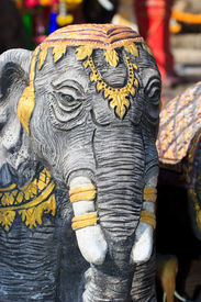 foto of mahabharata  - Wooden elephant at the temple in Thailsnd - JPG