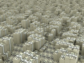 stock photo of billion  - Many paks of dollars in stacks on ground - JPG