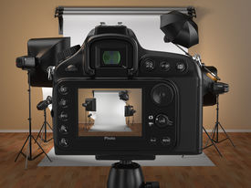 foto of flashing  - Digital photo camera in studio with softbox and flashes - JPG