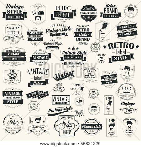 Set of vintage retro labels, stamps, ribbons, marks and calligraphic design elements, typographical poster