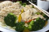 foto of nuong  - vietnamese food in restaurant of spicy chicken white meat with rice steamed broccoli and dipping sauce - JPG