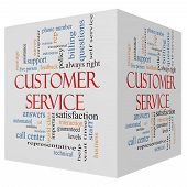 stock photo of rep  - Customer Service 3D cube Word Cloud Concept with great terms such as call center help staff rep and more - JPG