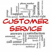 stock photo of rep  - Customer Service Word Cloud Concept in red caps with great terms such as call center help staff rep and more - JPG